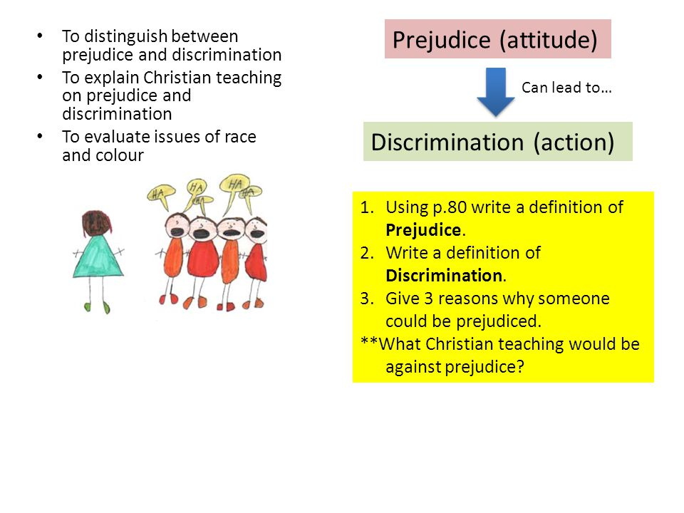 To distinguish between prejudice and discrimination To explain Christian teaching on prejudice and discrimination To evaluate issues of race and colou