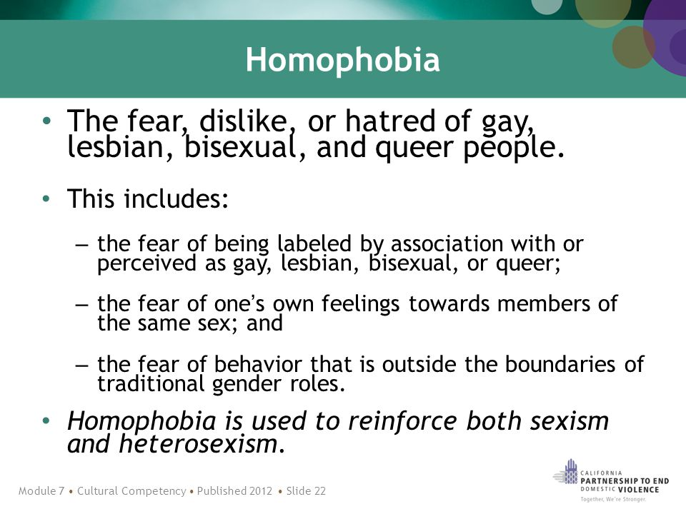 Homophobia The fear, dislike, or hatred of gay, lesbian, bisexual, and queer people.