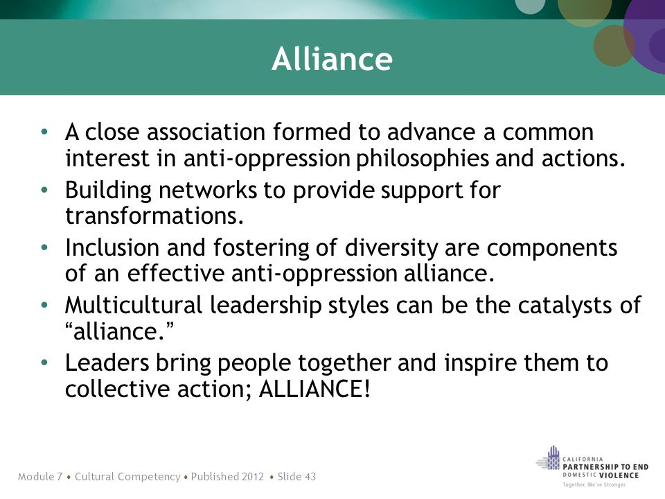Alliance A close association formed to advance a common interest in anti-oppression philosophies and actions.