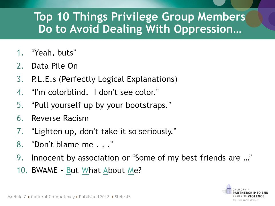 Top 10 Things Privilege Group Members Do to Avoid Dealing With Oppression… 1. Yeah, buts 2.Data Pile On 3.P.L.E.s (Perfectly Logical Explanations) 4. I'm colorblind.
