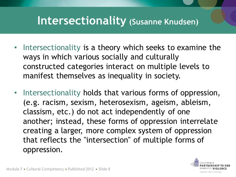 Intersectionality (Susanne Knudsen) Intersectionality is a theory which seeks to examine the ways in which various socially and culturally constructed categories interact on multiple levels to manifest themselves as inequality in society.
