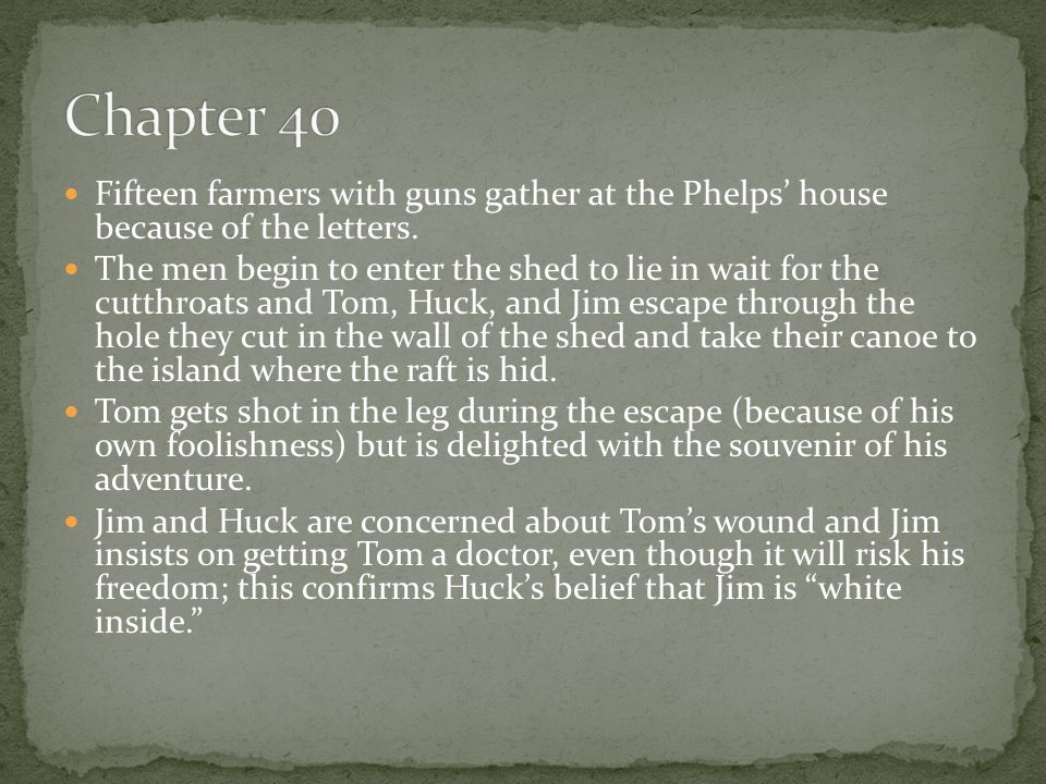 Fifteen farmers with guns gather at the Phelps' house because of the letters. The men begin to enter the shed to lie in wait for the cutthroats and To