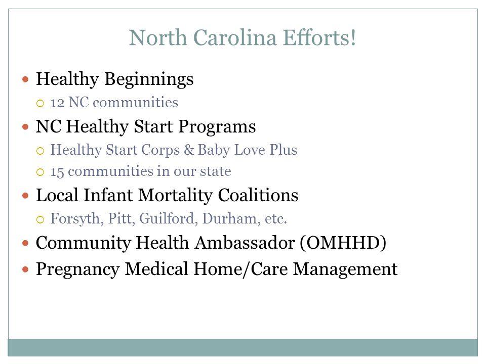 North Carolina Efforts! Healthy Beginnings  12 NC communities NC Healthy Start Programs  Healthy Start Corps & Baby Love Plus  15 communities in ou