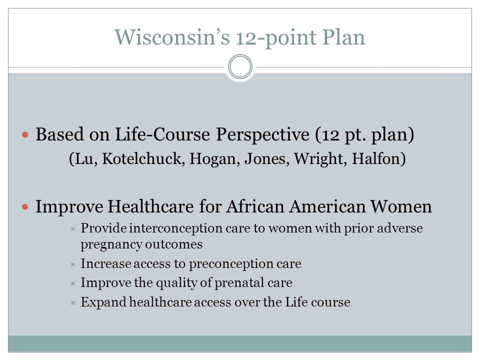 Wisconsin's 12-point Plan Based on Life-Course Perspective (12 pt. plan) (Lu, Kotelchuck, Hogan, Jones, Wright, Halfon) Improve Healthcare for African