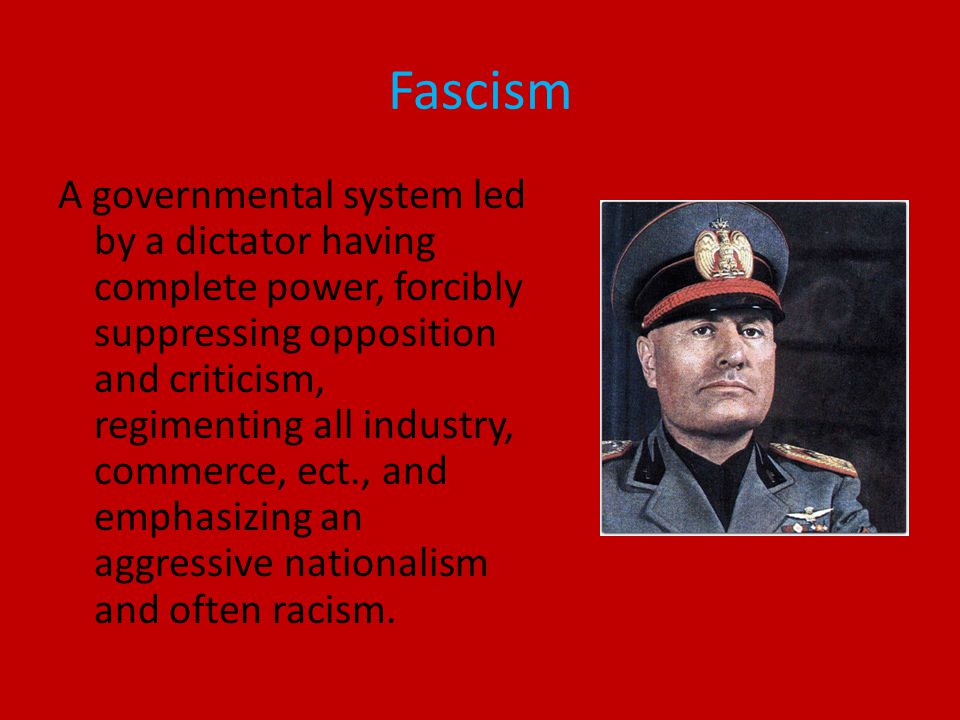 Characteristics of fascism Racism is very strong No human rights Government controls everything- form of socialism Authorities have power to enforce anything Punishment is very harsh Labor is suppressed Religion and government are intertwined