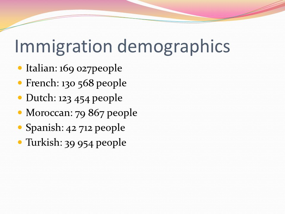 Immigration demographics Italian: 169 027people French: 130 568 people Dutch: 123 454 people Moroccan: 79 867 people Spanish: 42 712 people Turkish: 39 954 people