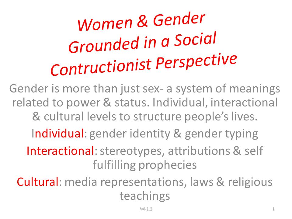 Women & Gender Grounded in a Social Contructionist Perspective Gender is more than just sex- a system of meanings related to power & status. Individua
