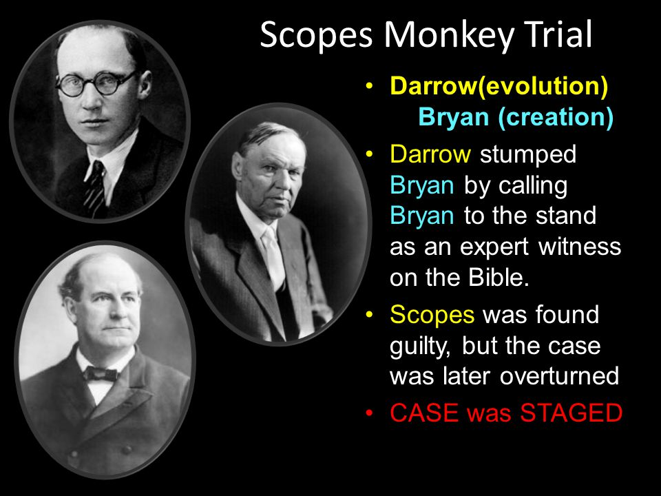 Scopes Trial Creation Vs Evolution Butler Act- 1925 (Tennessee) –Illegal to teach evolution or refute creationism.