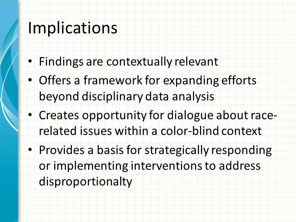 Implications Findings are contextually relevant Offers a framework for expanding efforts beyond disciplinary data analysis Creates opportunity for dia