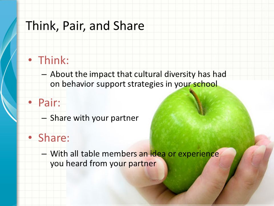 Think, Pair, and Share Think: – About the impact that cultural diversity has had on behavior support strategies in your school Pair: – Share with your