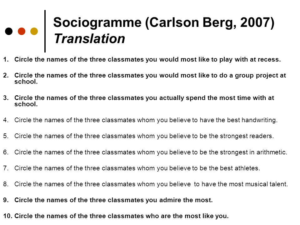 Sociogramme (Carlson Berg, 2007) Translation 1.Circle the names of the three classmates you would most like to play with at recess. 2.Circle the names