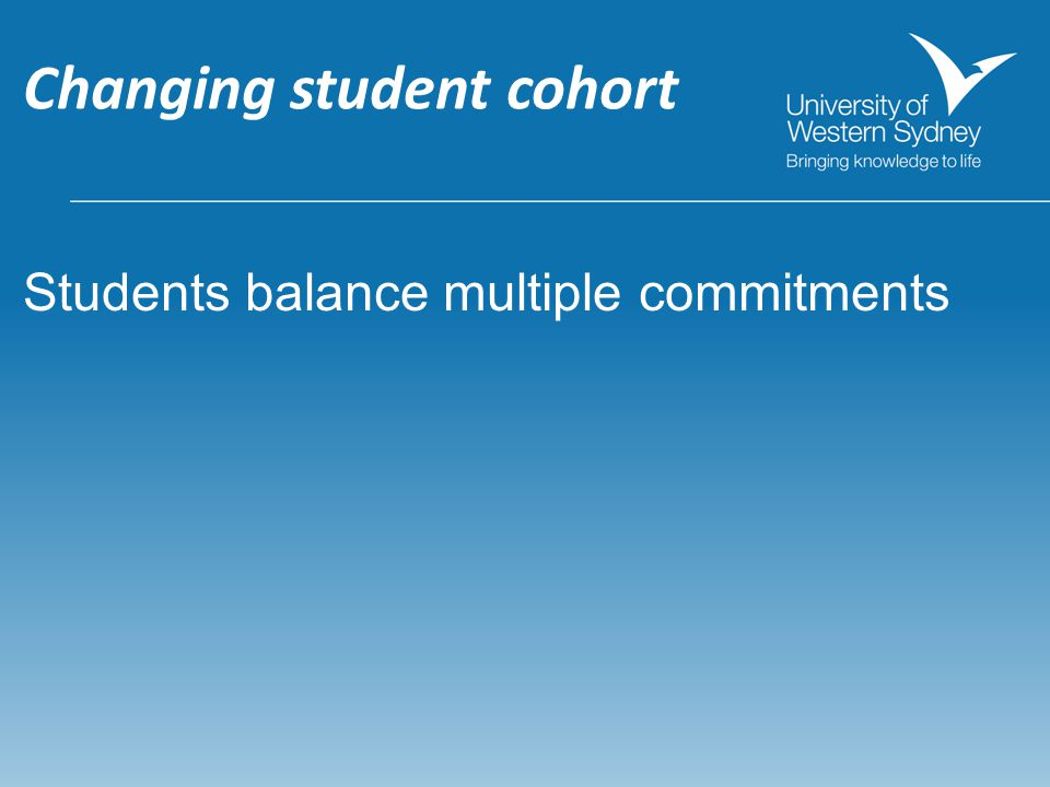 Changing student cohort Students balance multiple commitments