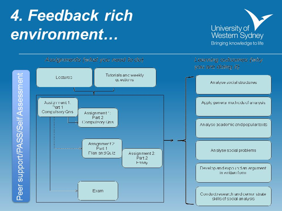 4. Feedback rich environment… Peer support/PASS/Self Assessment