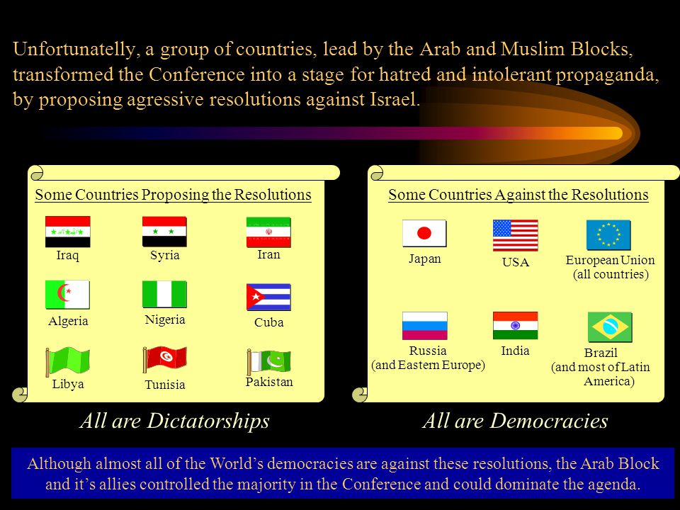 Unfortunatelly, a group of countries, lead by the Arab and Muslim Blocks, transformed the Conference into a stage for hatred and intolerant propaganda, by proposing agressive resolutions against Israel.