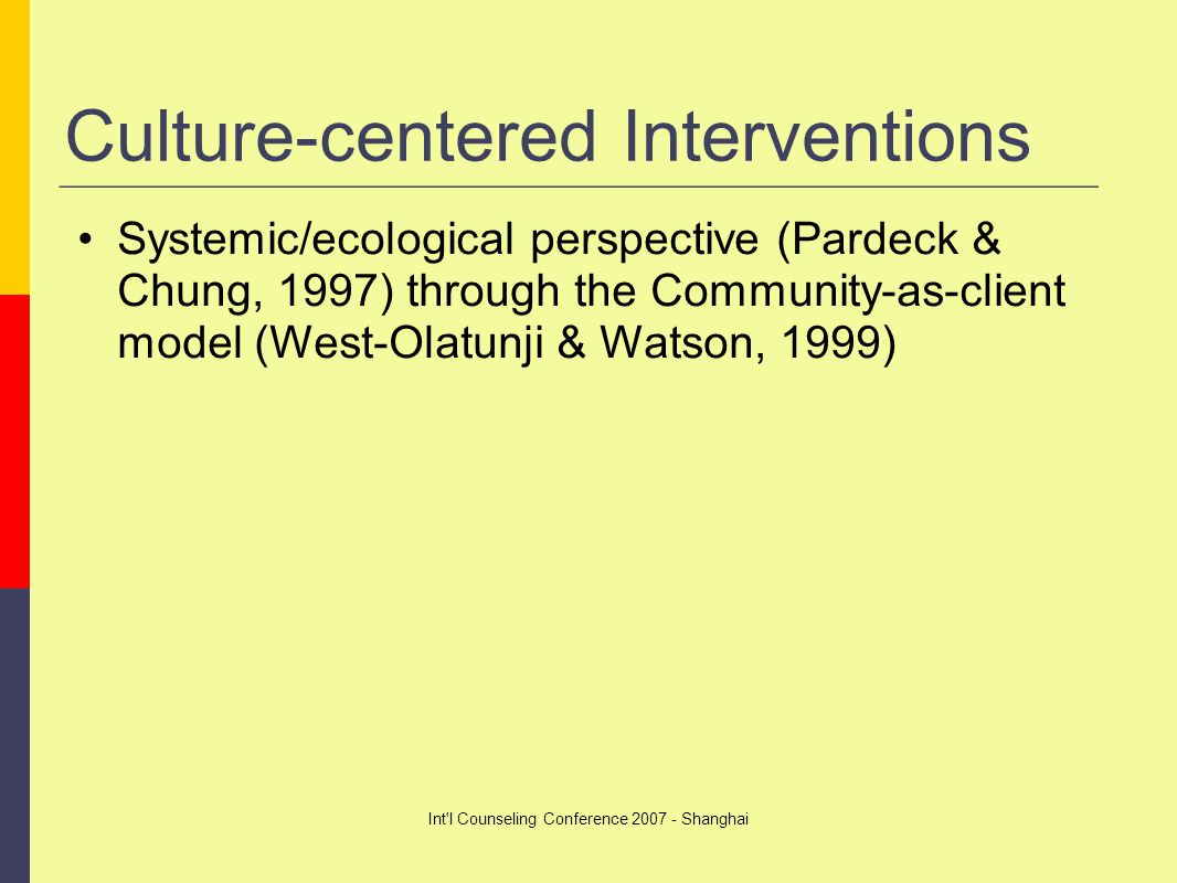 Int l Counseling Conference 2007 - Shanghai Culture-centered Interventions Systemic/ecological perspective (Pardeck & Chung, 1997) through the Community-as-client model (West-Olatunji & Watson, 1999)