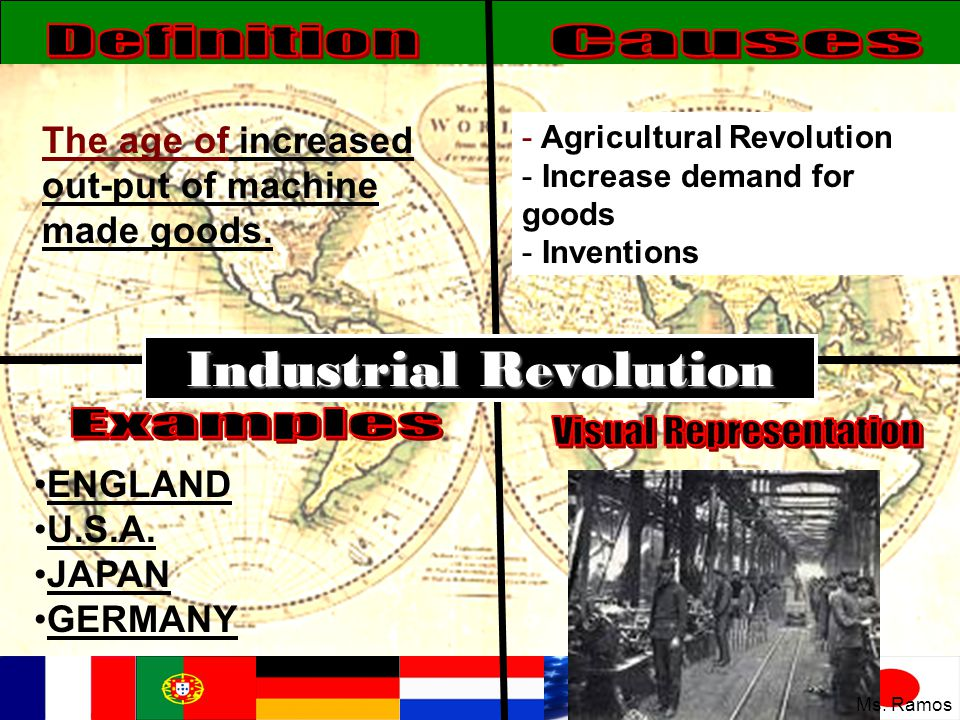Industrial Revolution The age of increased out-put of machine made goods. - Agricultural Revolution - Increase demand for goods - Inventions ENGLAND U