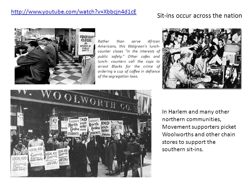 In Harlem and many other northern communities, Movement supporters picket Woolworths and other chain stores to support the southern sit-ins. Rather th