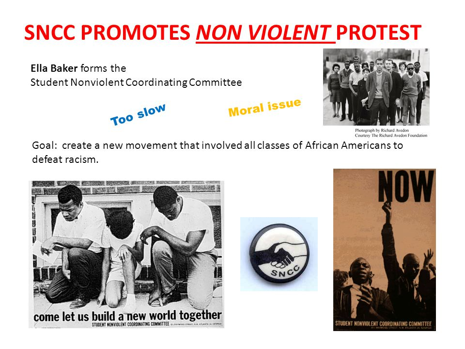 SNCC PROMOTES NON VIOLENT PROTEST Ella Baker forms the Student Nonviolent Coordinating Committee Too slow Moral issue Goal: create a new movement that