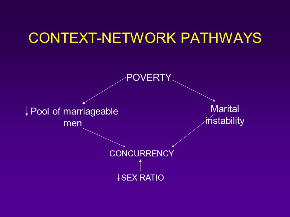 CONTEXT-NETWORK PATHWAYS POVERTY Pool of marriageable men Marital instability CONCURRENCY SEX RATIO