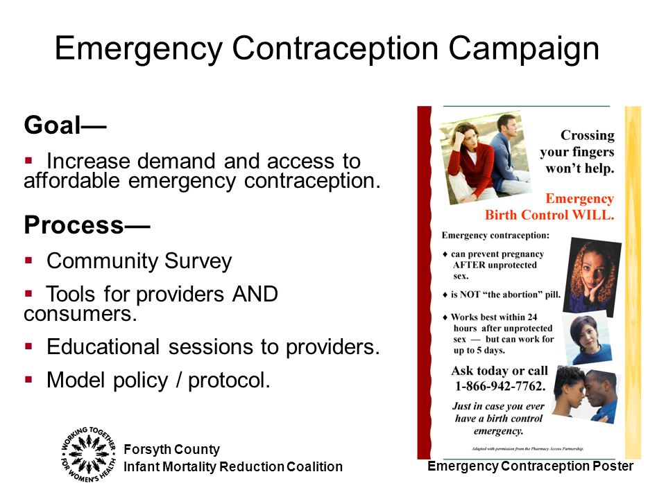 Forsyth County Infant Mortality Reduction Coalition Goal—  Increase demand and access to affordable emergency contraception.