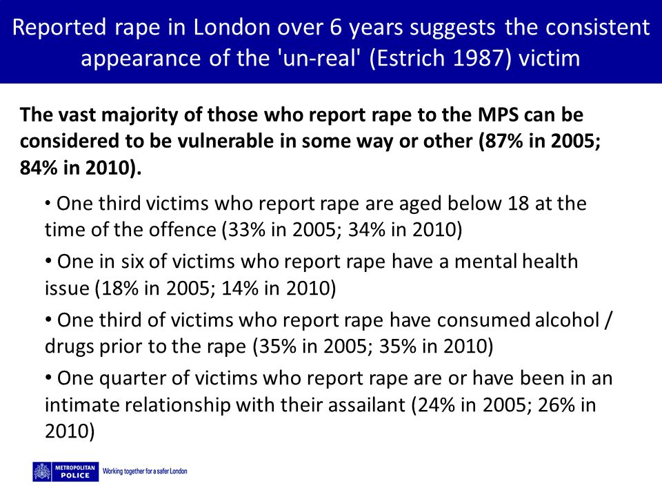 5/2/2015 Reported rape in London over 6 years suggests the consistent appearance of the un-real (Estrich 1987) victim The vast majority of those who report rape to the MPS can be considered to be vulnerable in some way or other (87% in 2005; 84% in 2010).