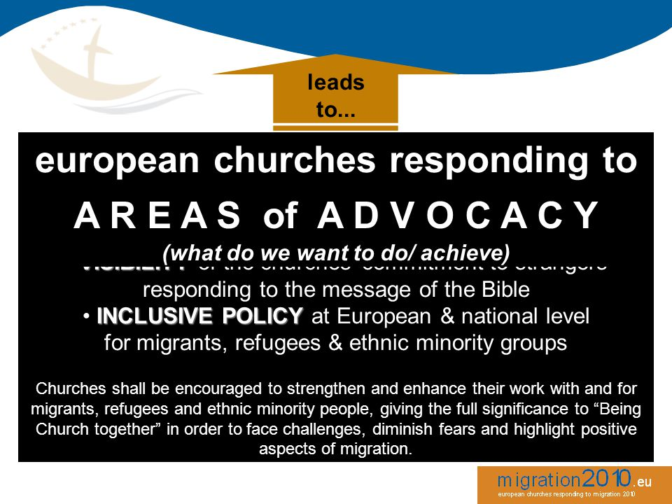 leads to... european churches responding to migration aims for: VISIBILITY VISIBILITY of the churches' commitment to strangers responding to the messa