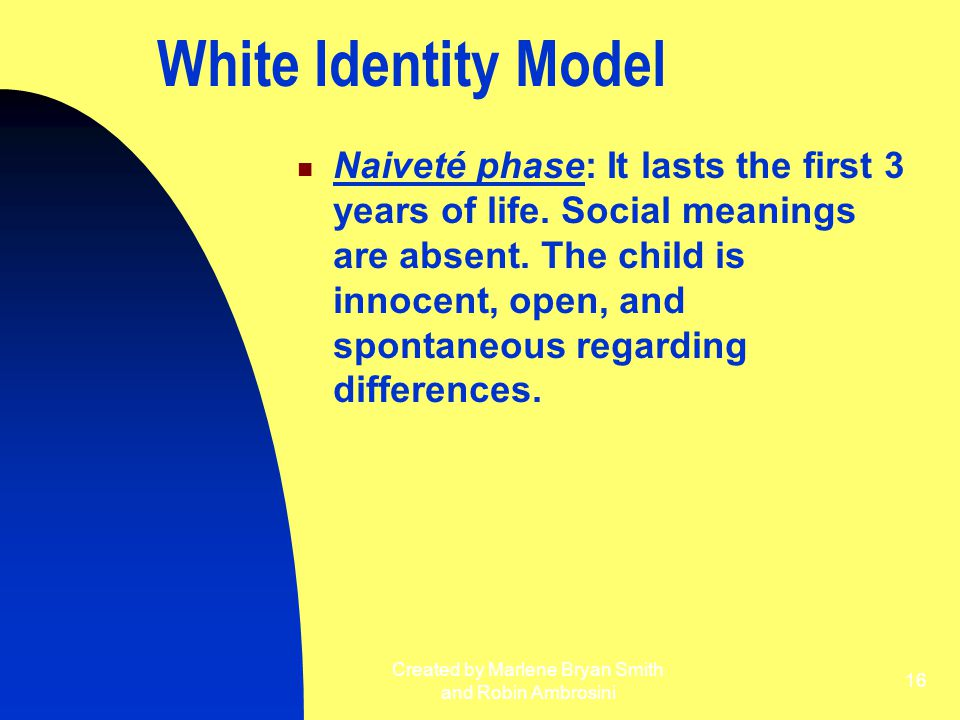 Created by Marlene Bryan Smith and Robin Ambrosini 16 White Identity Model Naiveté phase: It lasts the first 3 years of life. Social meanings are abse