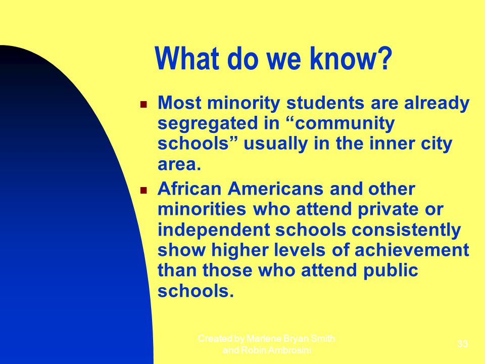 "Created by Marlene Bryan Smith and Robin Ambrosini 33 What do we know? Most minority students are already segregated in ""community schools"" usually in"