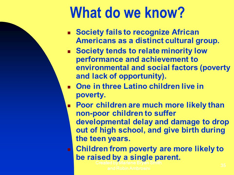 Created by Marlene Bryan Smith and Robin Ambrosini 35 What do we know? Society fails to recognize African Americans as a distinct cultural group. Soci
