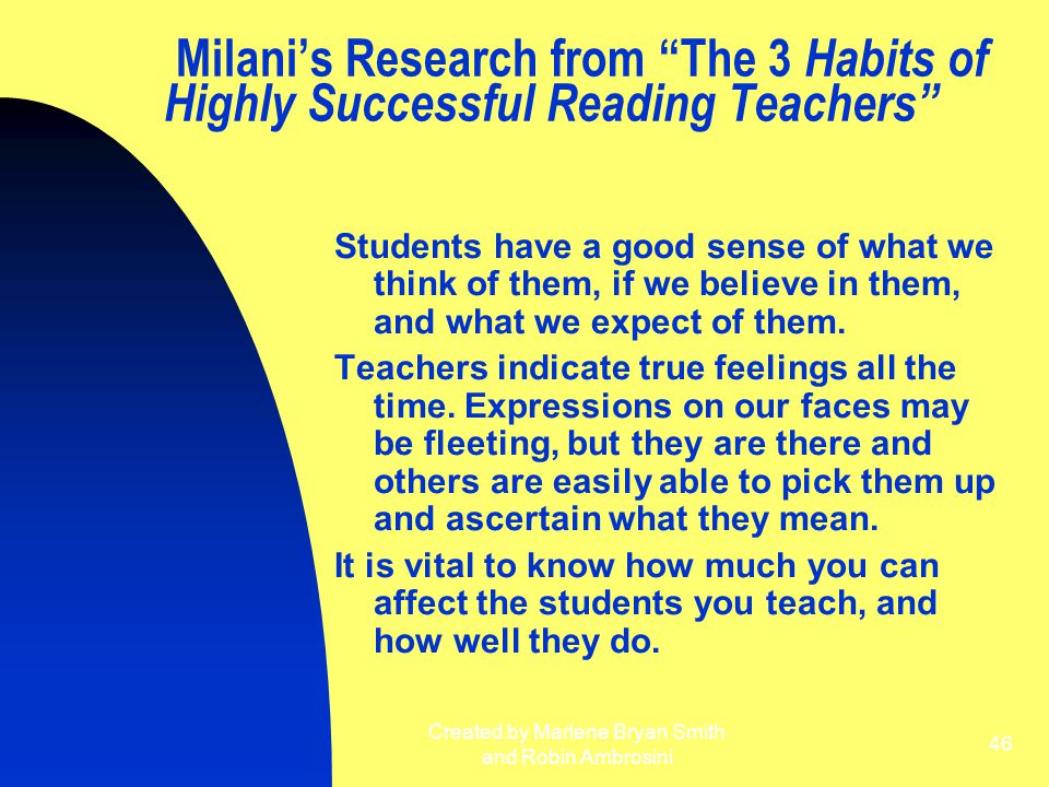 "Created by Marlene Bryan Smith and Robin Ambrosini 46 Milani's Research from ""The 3 Habits of Highly Successful Reading Teachers"" Students have a good"