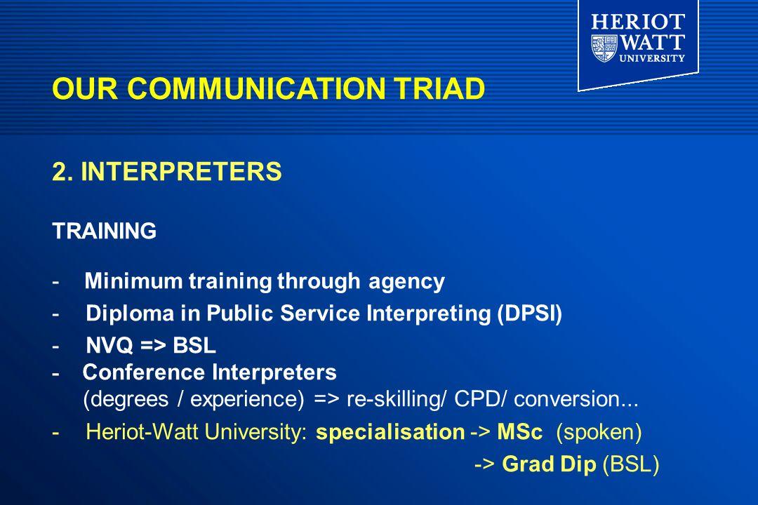 OUR COMMUNICATION TRIAD 2. INTERPRETERS TRAINING - Minimum training through agency -Diploma in Public Service Interpreting (DPSI) -NVQ => BSL - Confer