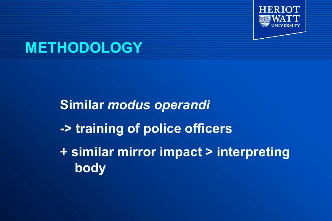 Similar modus operandi -> training of police officers + similar mirror impact > interpreting body