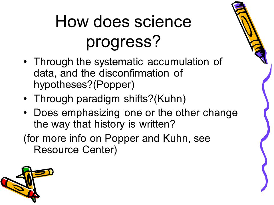 How does science progress? Through the systematic accumulation of data, and the disconfirmation of hypotheses?(Popper) Through paradigm shifts?(Kuhn)