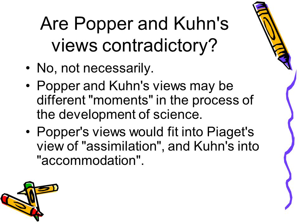 Are Popper and Kuhn's views contradictory? No, not necessarily. Popper and Kuhn's views may be different