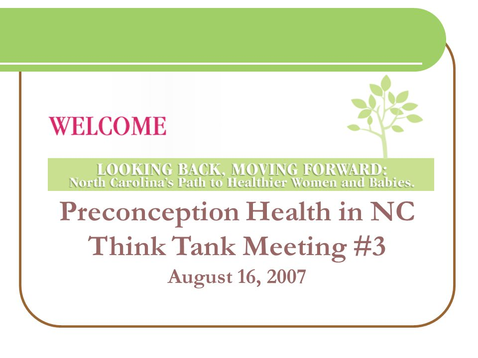 Preconception Health in NC Think Tank Meeting #3 August 16, 2007