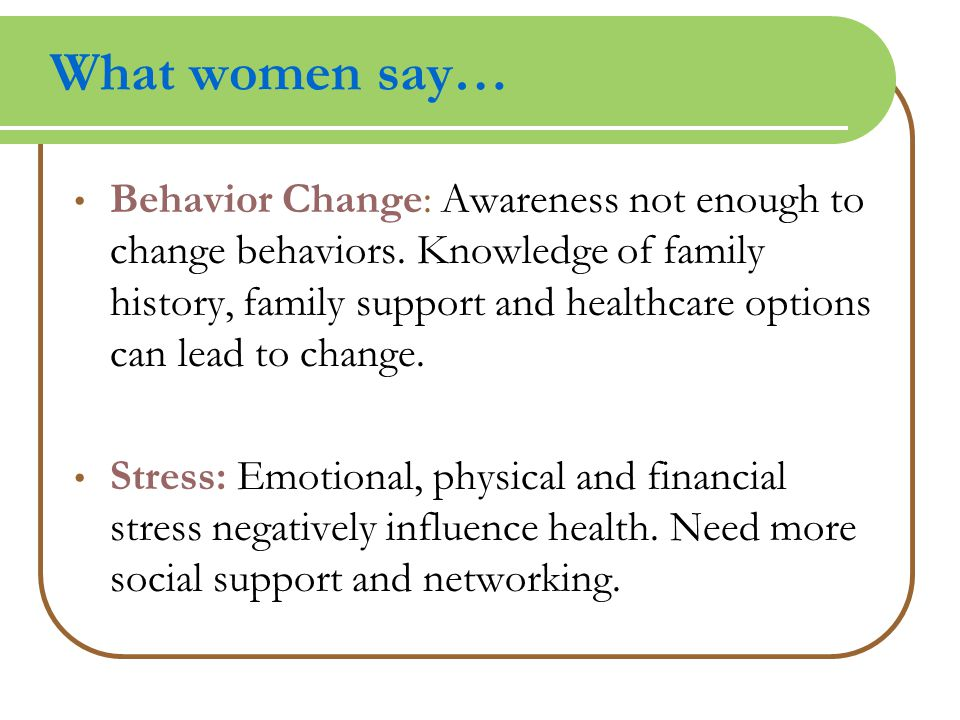 What women say… Behavior Change: Awareness not enough to change behaviors.
