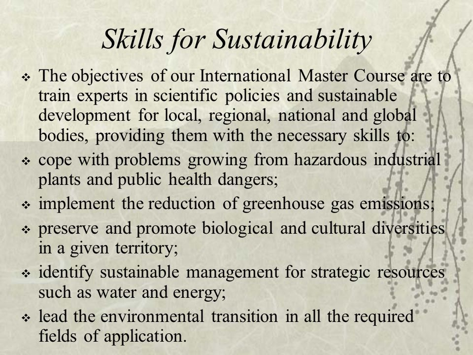 Skills for Sustainability  The objectives of our International Master Course are to train experts in scientific policies and sustainable development