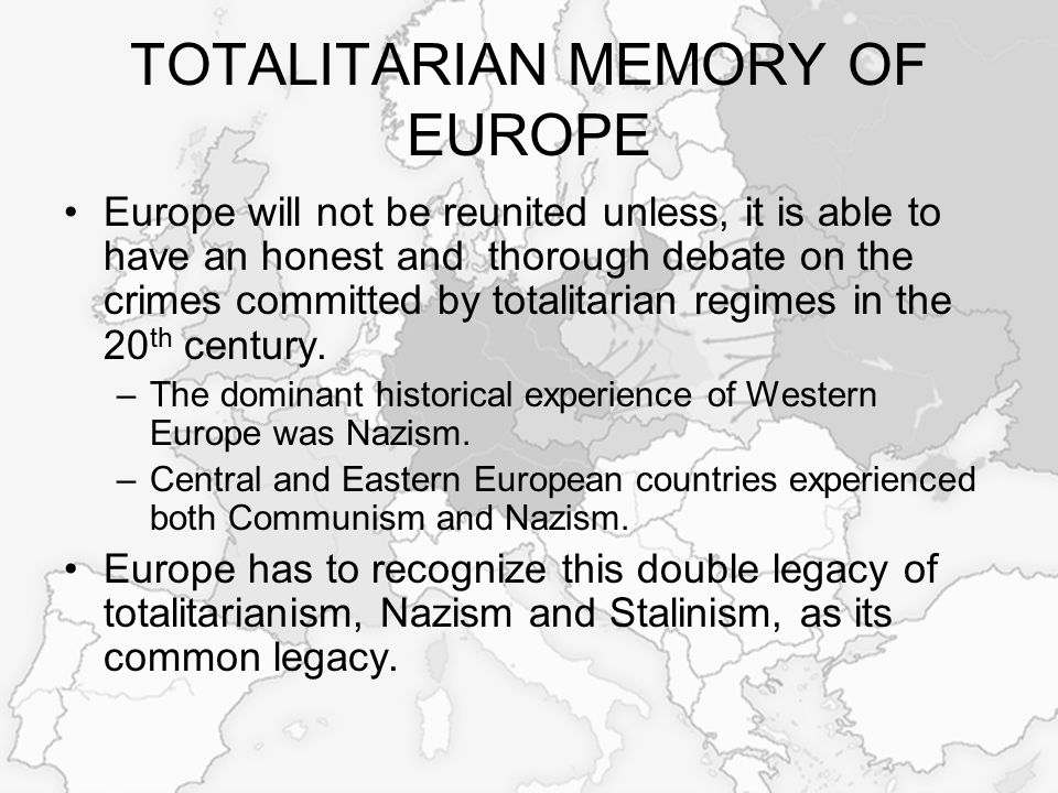 ACTION FOR RECONCILIATION Europe must recognize all historical aspects of modern Europe, therefore it is necessary to: –Formulate a common approach to Nazism and totalitarian communism, –Clearly define the attitude towards the crimes of totalitarian communism, –Ensure the continuity of the comprehensive reassessment of political, historical, and legal aspects of the crimes of totalitarian communism, –Ensure a clear international legal framework for free access to archives (security services, secret police, intelligence agencies), which contain information about totalitarian crimes.