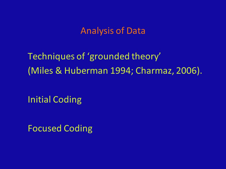 Analysis of Data Techniques of 'grounded theory' (Miles & Huberman 1994; Charmaz, 2006). Initial Coding Focused Coding