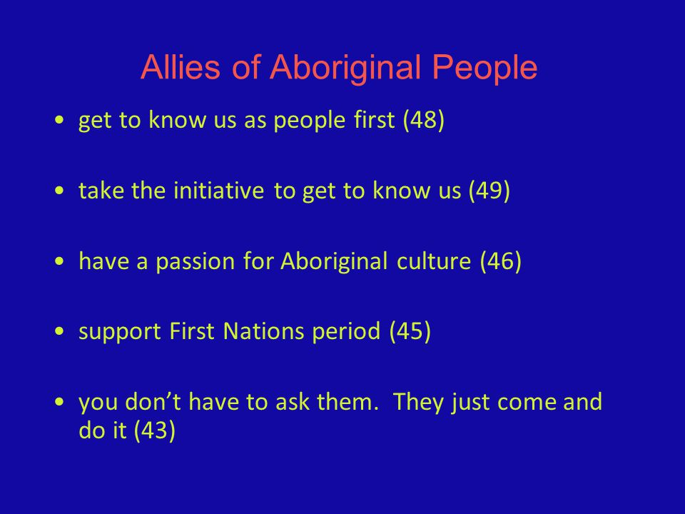 Allies of Aboriginal People get to know us as people first (48) take the initiative to get to know us (49) have a passion for Aboriginal culture (46)