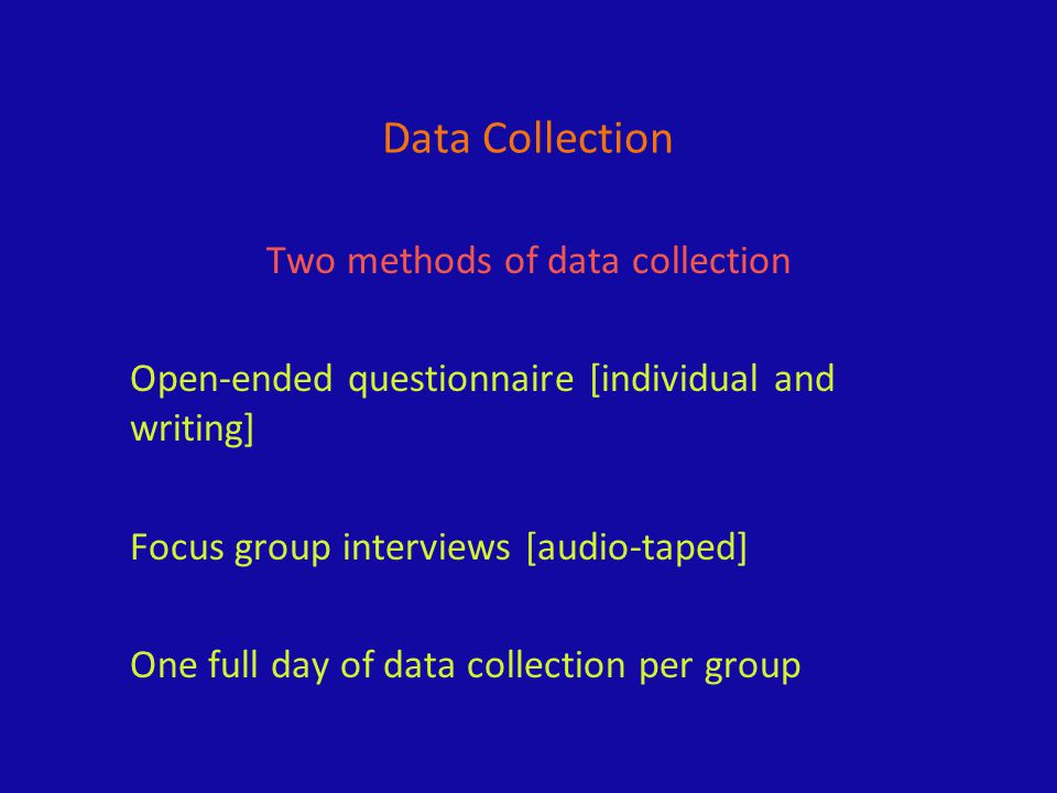 Data Collection Two methods of data collection Open-ended questionnaire [individual and writing] Focus group interviews [audio-taped] One full day of