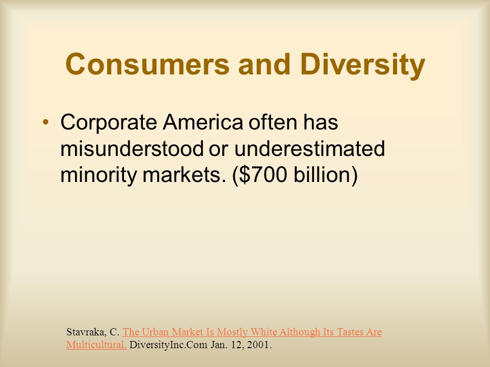 Consumers and Diversity Corporate America often has misunderstood or underestimated minority markets.