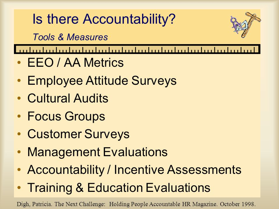 Is there Accountability? Tools & Measures EEO / AA Metrics Employee Attitude Surveys Cultural Audits Focus Groups Customer Surveys Management Evaluati