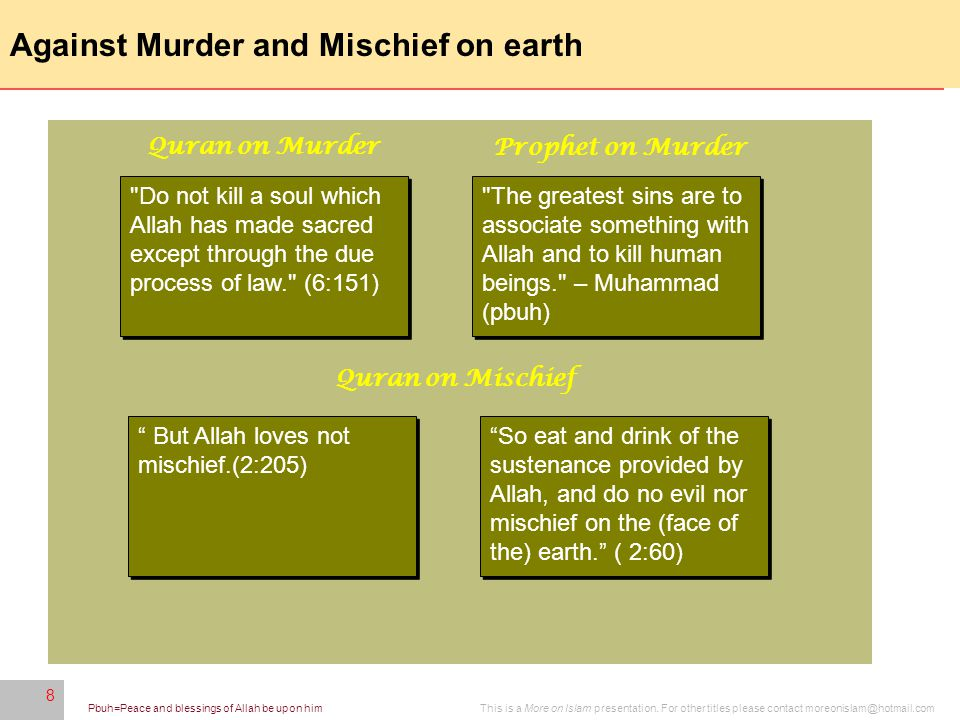 8 This is a More on Islam presentation. For other titles please contact moreonislam@hotmail.comPbuh=Peace and blessings of Allah be upon him 8 Against
