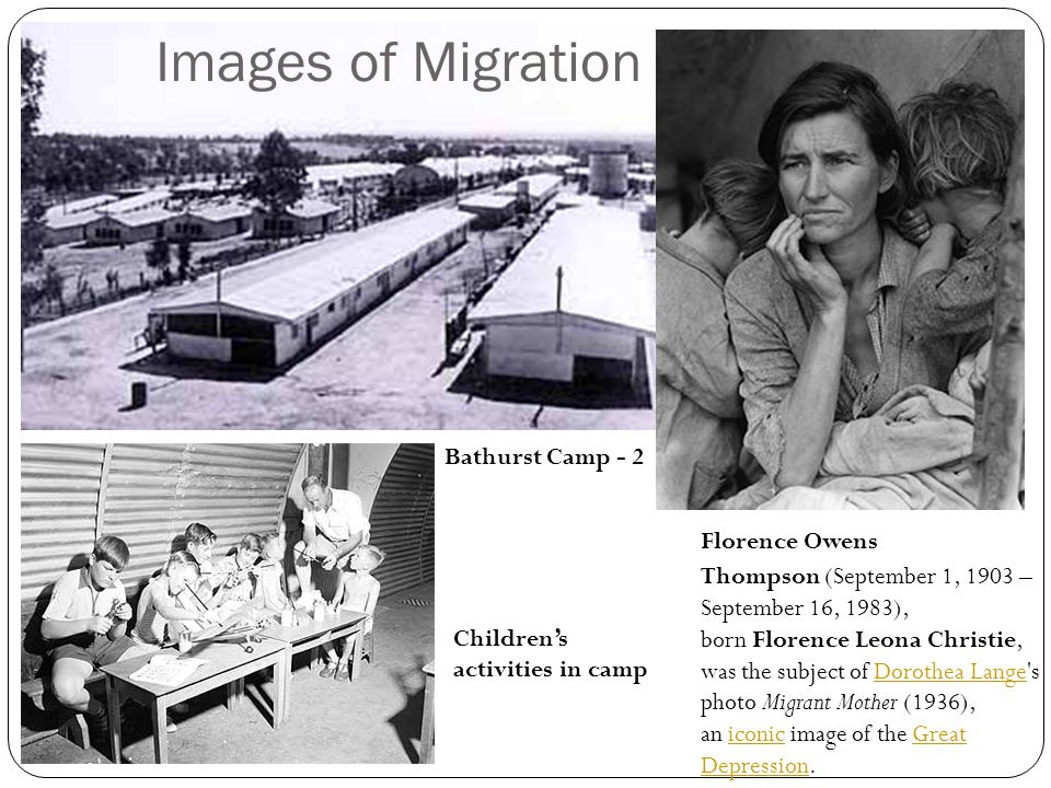 Images of Migration Florence Owens Thompson (September 1, 1903 – September 16, 1983), born Florence Leona Christie, was the subject of Dorothea Lange'
