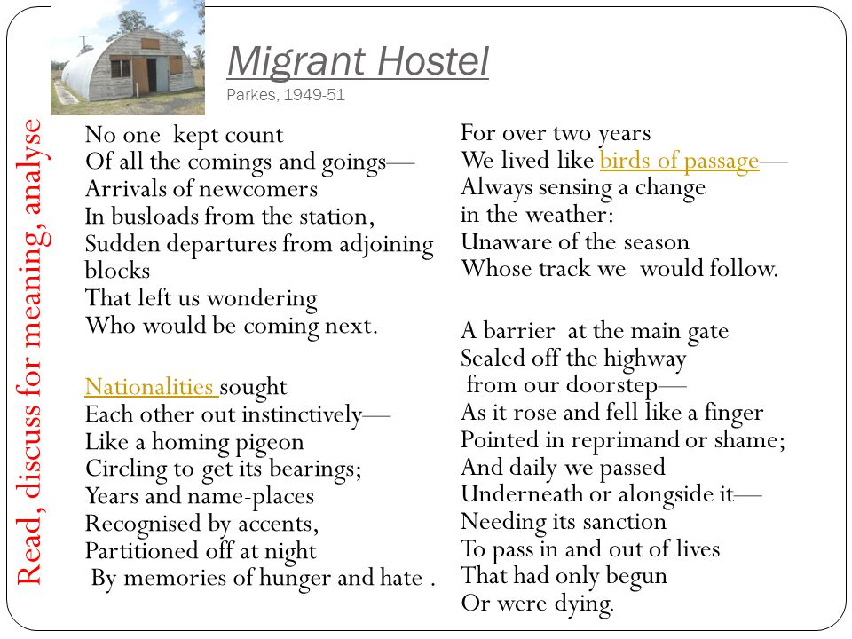 Migrant Hostel Parkes, 1949-51 No one kept count Of all the comings and goings— Arrivals of newcomers In busloads from the station, Sudden departures