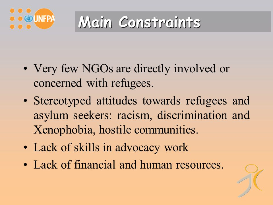 Very few NGOs are directly involved or concerned with refugees.