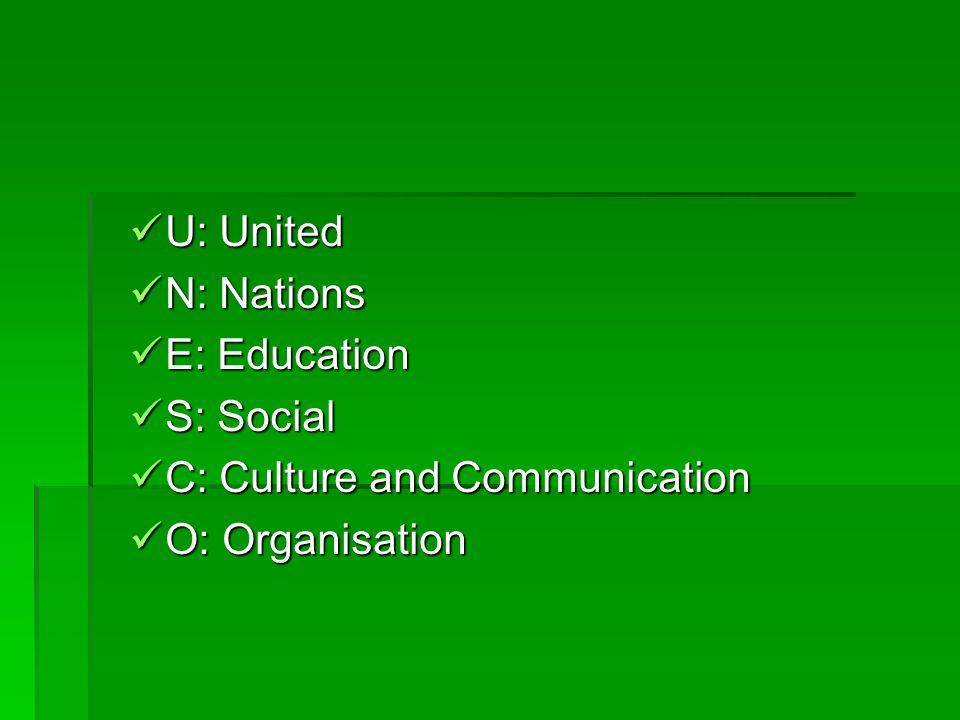 U: United U: United N: Nations N: Nations E: Education E: Education S: Social S: Social C: Culture and Communication C: Culture and Communication O: Organisation O: Organisation