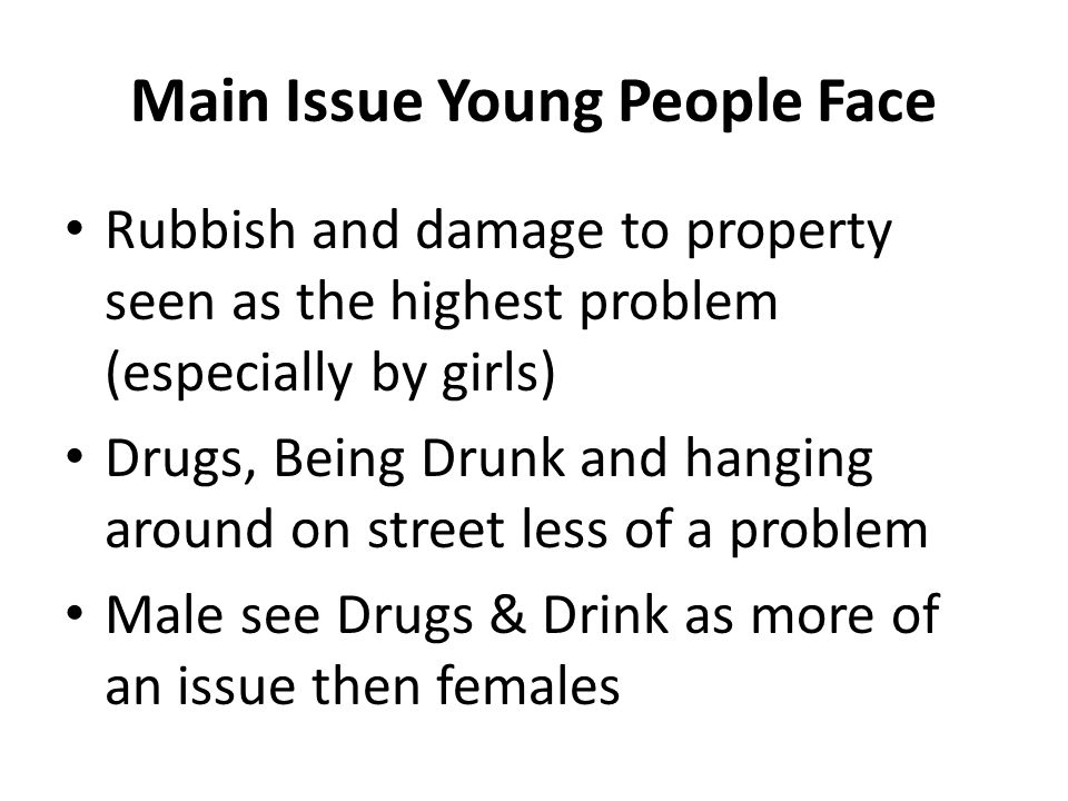 Main Issue Young People Face Rubbish and damage to property seen as the highest problem (especially by girls) Drugs, Being Drunk and hanging around on street less of a problem Male see Drugs & Drink as more of an issue then females