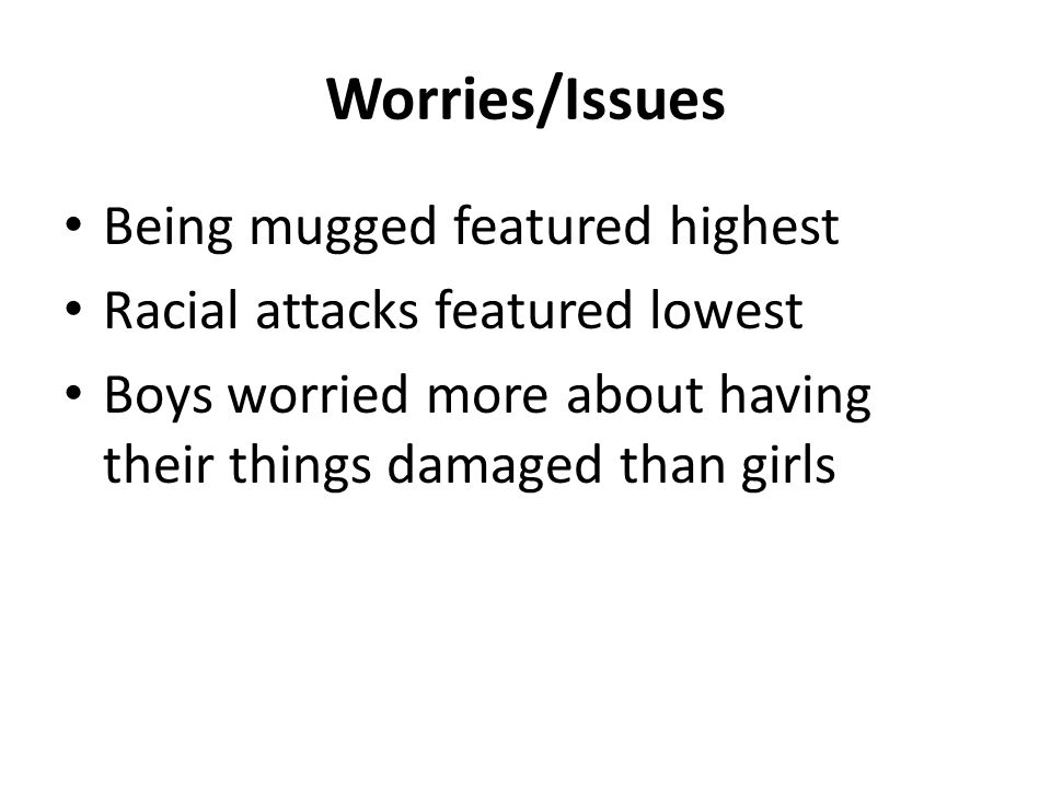 Worries/Issues Being mugged featured highest Racial attacks featured lowest Boys worried more about having their things damaged than girls